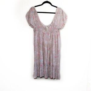 Free People Blush & Cream Floral Babydoll Dress